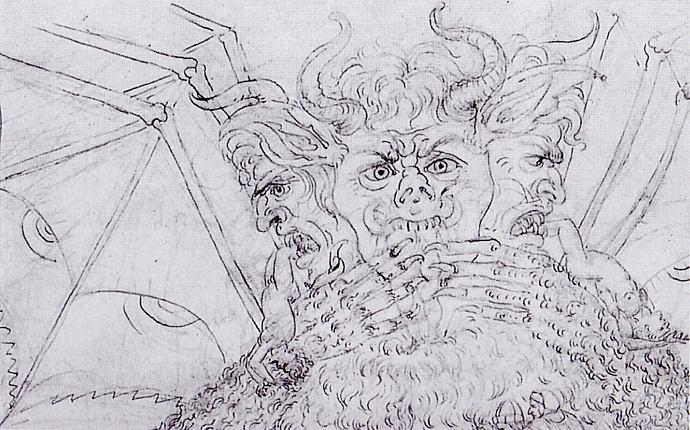 12.El infierno, canto XXXIV, Lucifer (detalle), 1480-1490