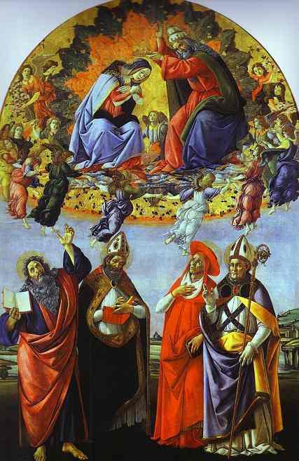 Alessandro Botticelli - Coronation of the Virgin with the Saints John the Evangelist, Augustine,