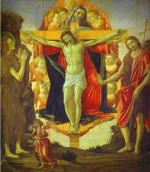 Alessandro Botticelli - Holy Trinity with Mary Magdalene, St. John the Baptist and Tobias and the