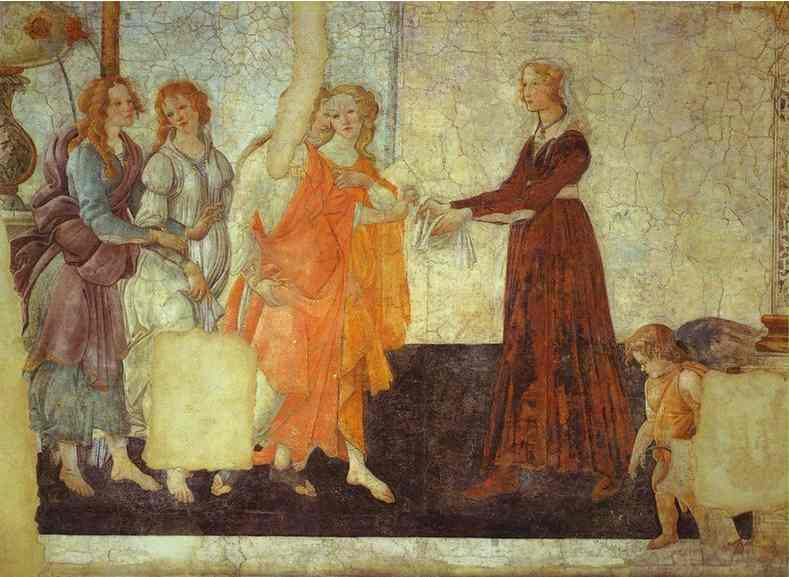 Alessandro Botticelli - Venus and the Three Graces presenting Gifts to a Young Woman