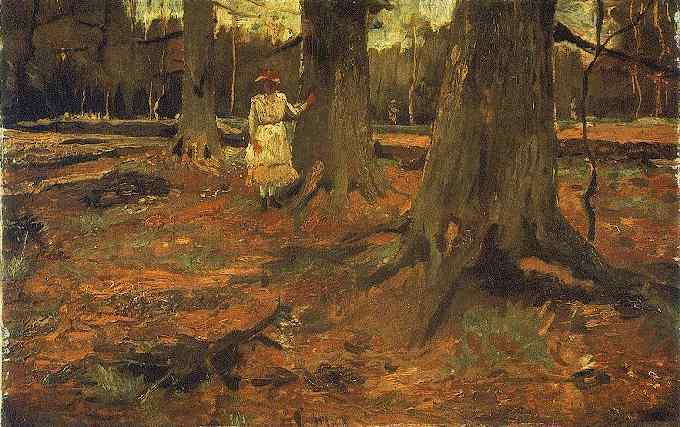 1882 Femme en blanc dans le bois