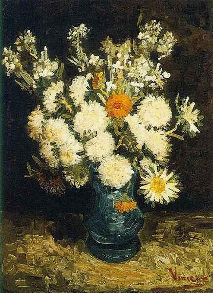 1886 Fleurs dans un vase bleu