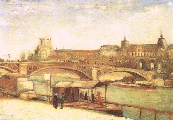 1886 Pont du Carrousel et le  Louvre