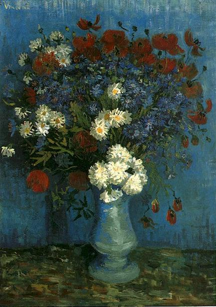 1887 Vase avec bleuets coquelicots