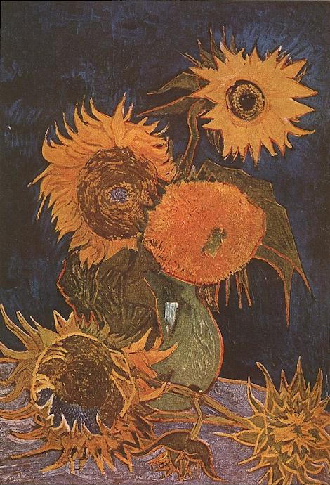 1888 Vase avec cinq tournesols