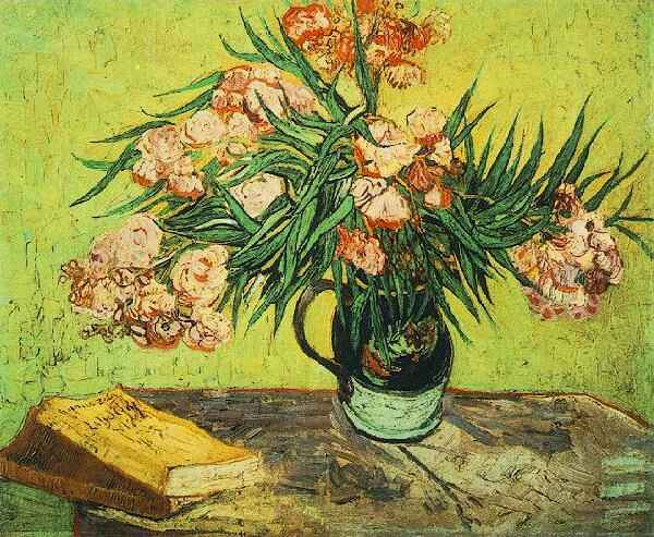 1888 Vase avec lauriers roses et livres