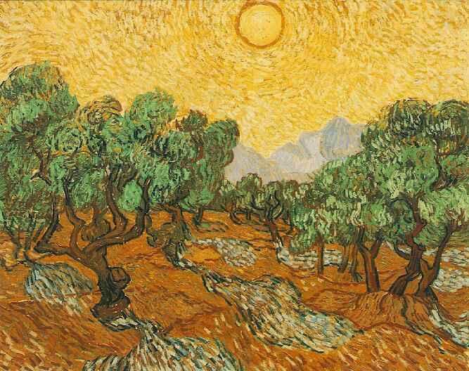 1889 Oliviers et soleil jaune