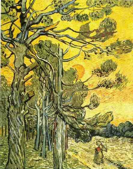 1889 Pins et ciel rouge