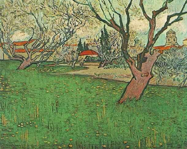 1889 Vue d'Arles avec arbres en fleurs