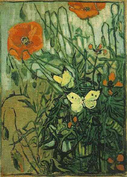 1890 Coquelicots et papillons