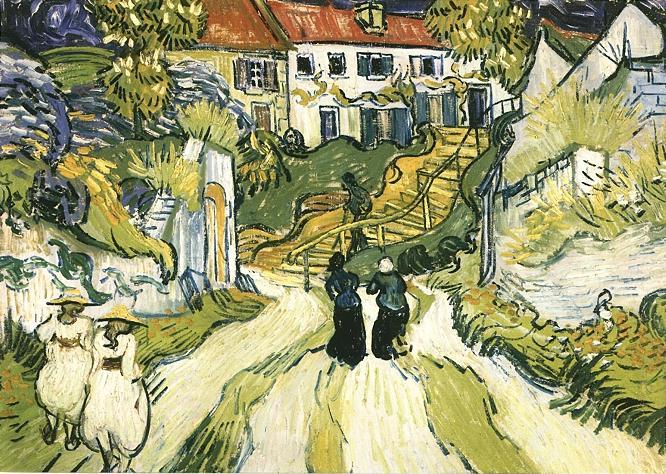 1890 Rue d'Auvers avec personnages