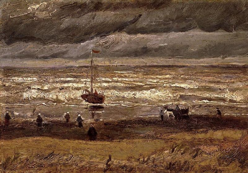 Beach at Scheveningen in Stormy Weather