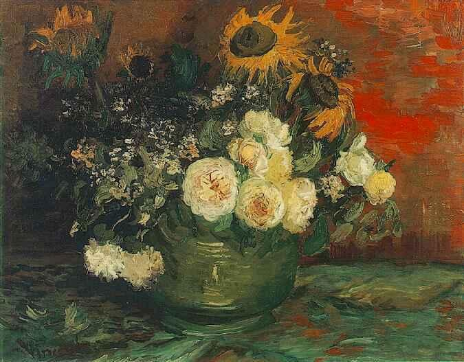 Bowl with Sunflowers, Roses and Other Flowers