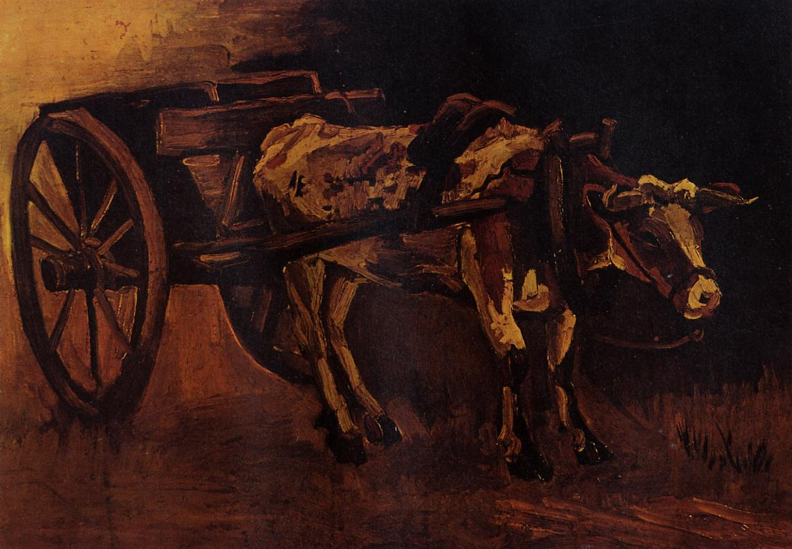 Cart with Red and White Ox