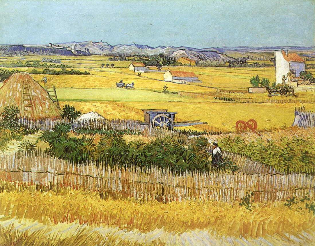 Harvest at La Crau, with Montmaiour in the Background