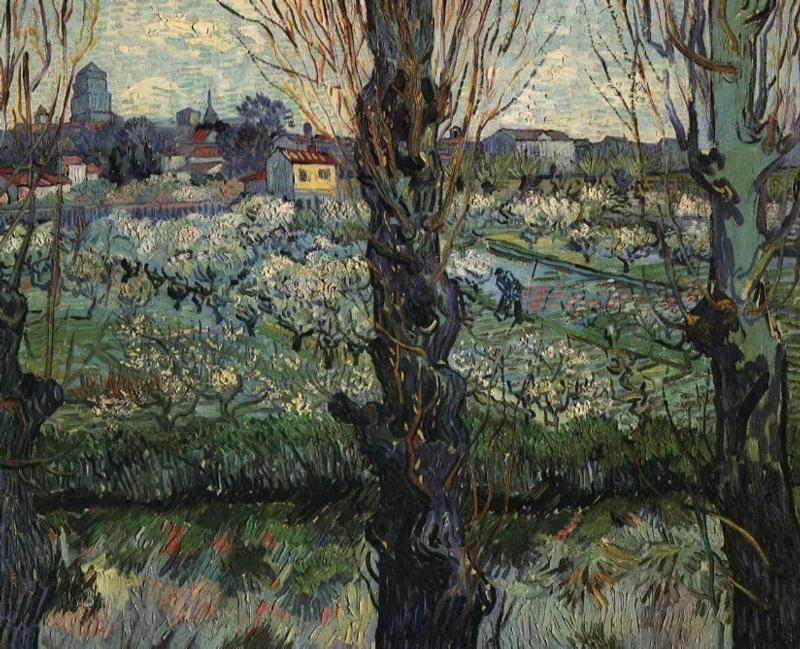 Orchard in Bloom with View of Arles