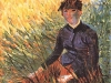 1887 Femme assise dans l'herbe