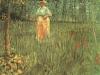 1887 Femme marchant dans un jardin