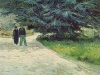 Public Garden with Couple and Blue Fir Tree
