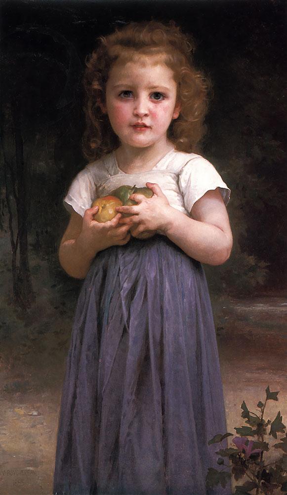 Little girl holding apples in her hands