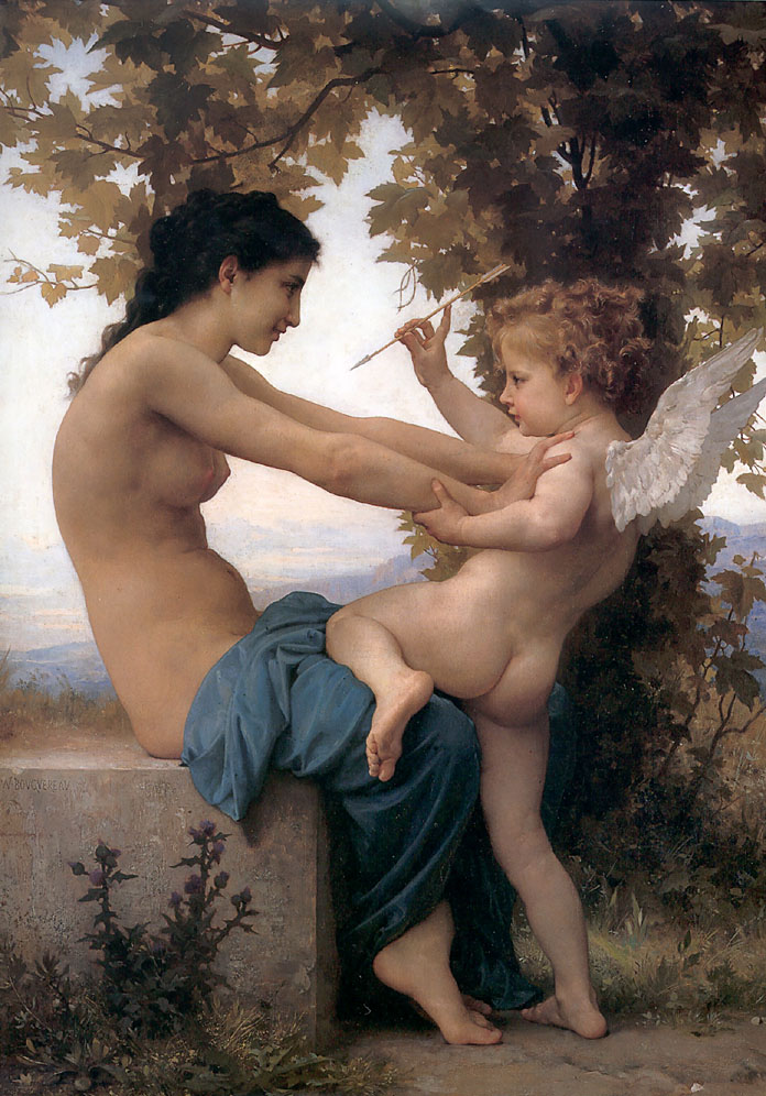 Young Girl Defending herself against Cupid