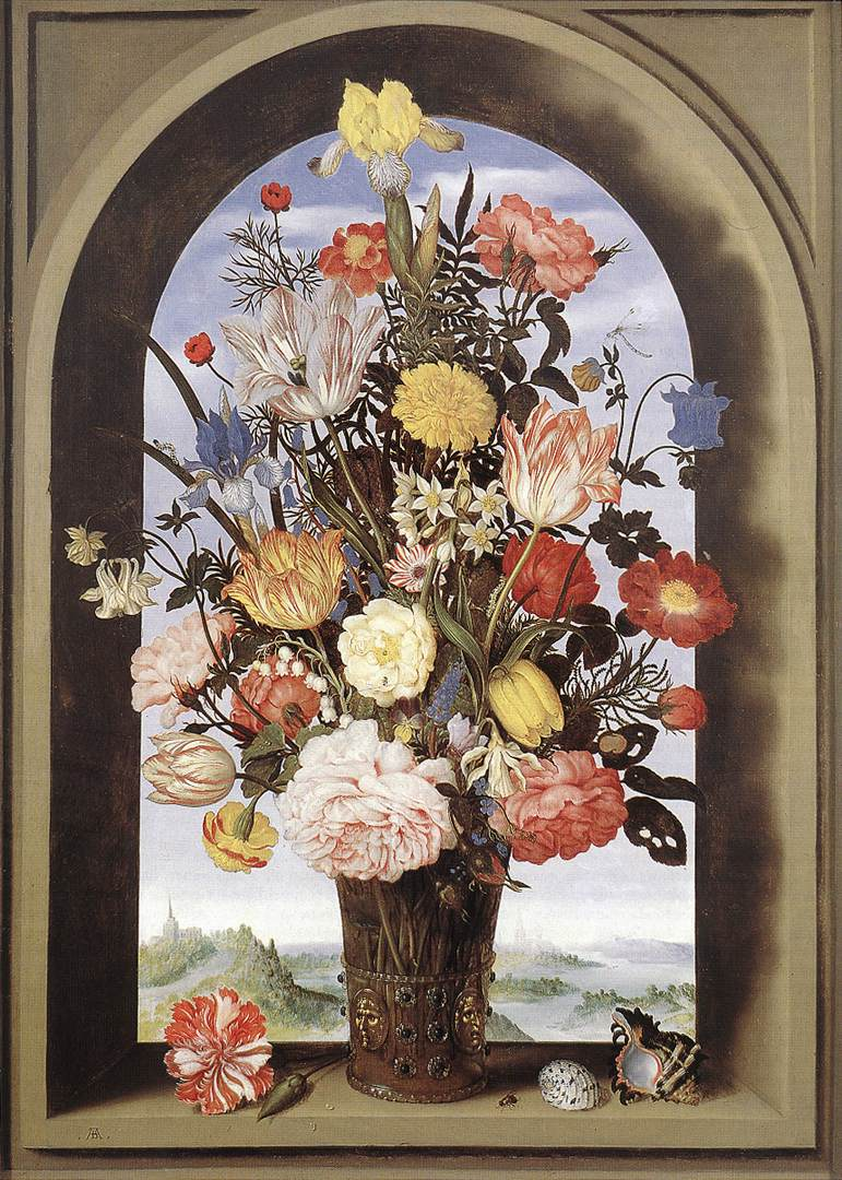 bouquet-in-an-arched-window