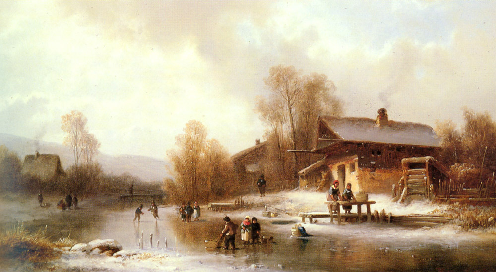 Skaters and Washerwomen in a Frozen Landscape