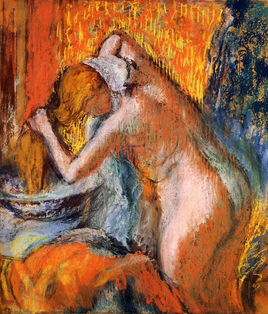 after-the-bath-woman-drying-her-hair