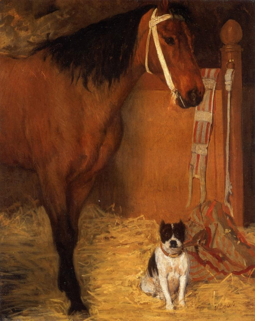 at-the-stables-horse-and-dog
