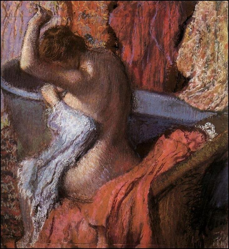 seated-bather-drying-herself