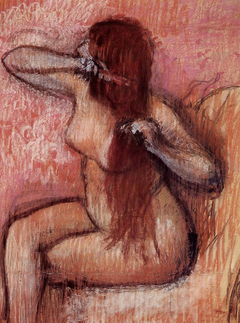 seated-nude-combing-her-hair