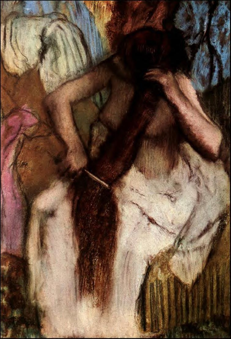 seated-woman-combing-her-hair