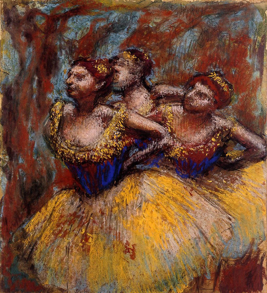 three-dancers-yellow-skirts-blue-blouses