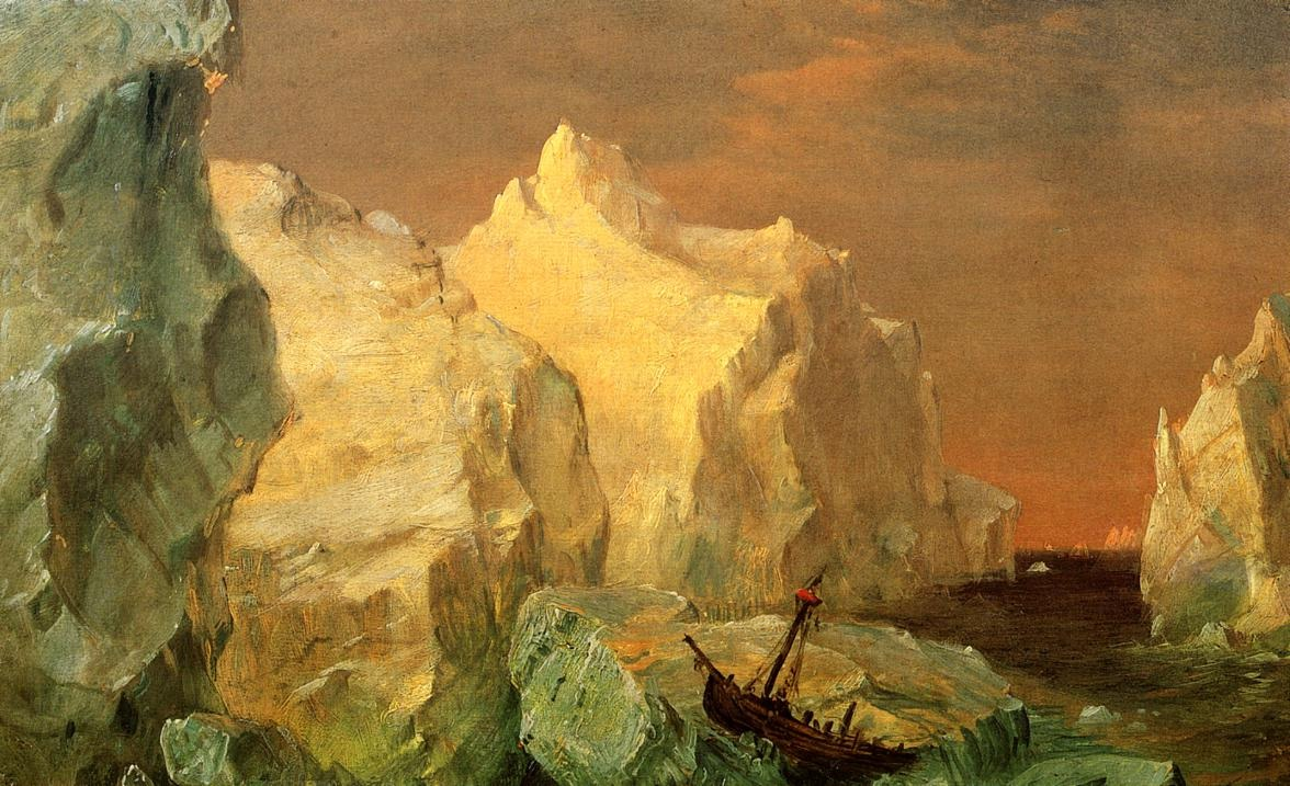 icebergs-and-wreck-in-sunset