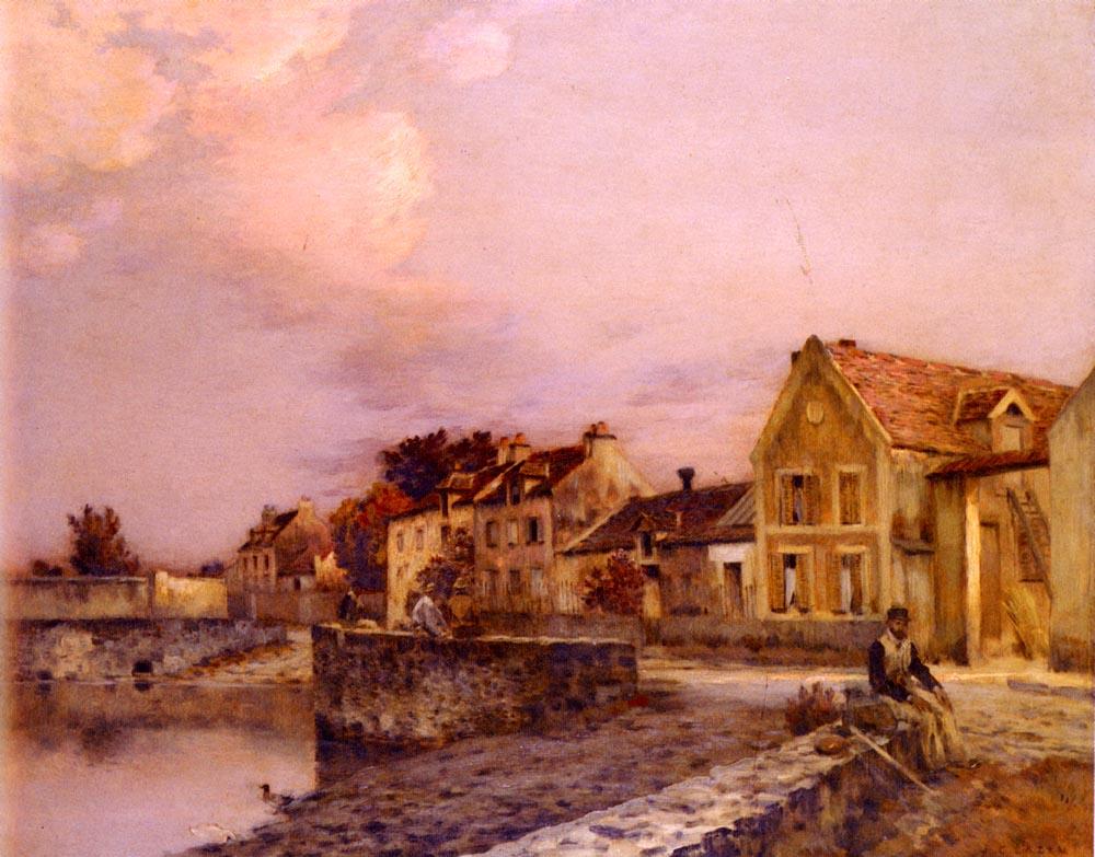 figures-at-the-village-pond-sunset