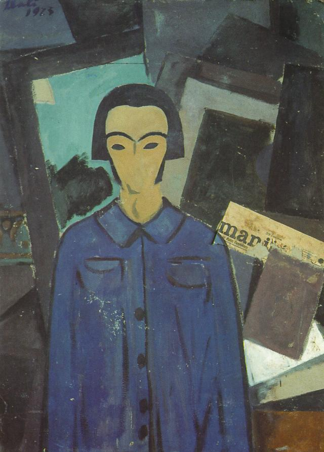 1923_08_Self-portrait with L'Humanitie, 1923