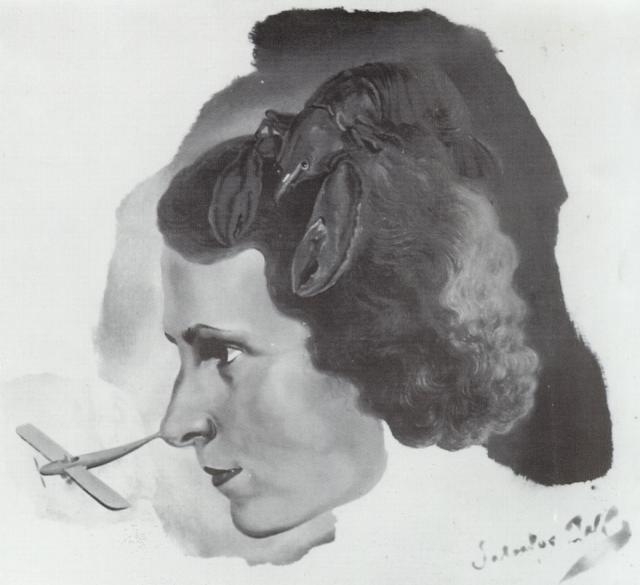 1934_32_Portrait of Gala with a Lobster (Portrait of Gala with Aeroplane Nose), circa 1934